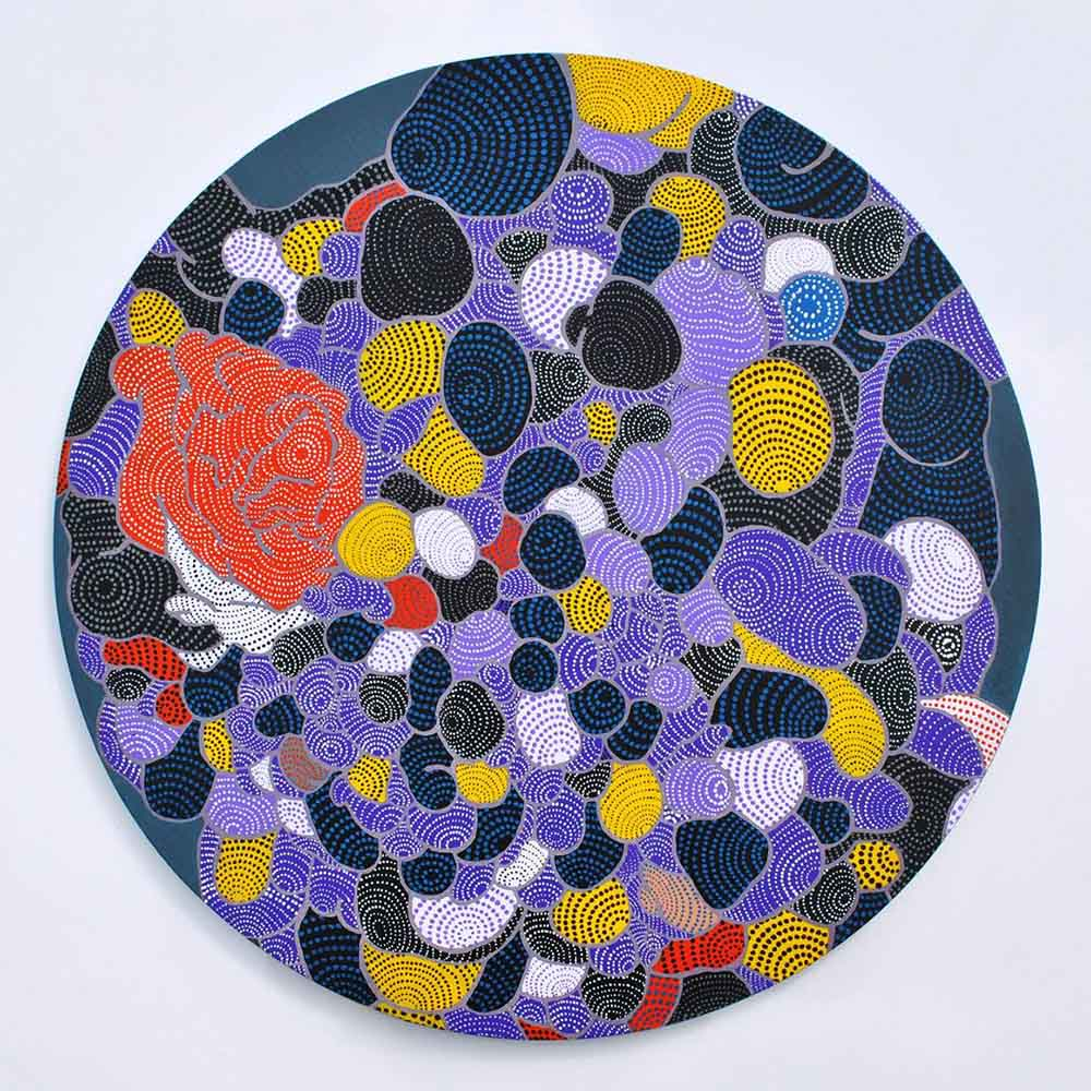 Asuka Nirasawa Cell 5 2013 Acrylic on round canvas 502mm x 502mm x 13mm