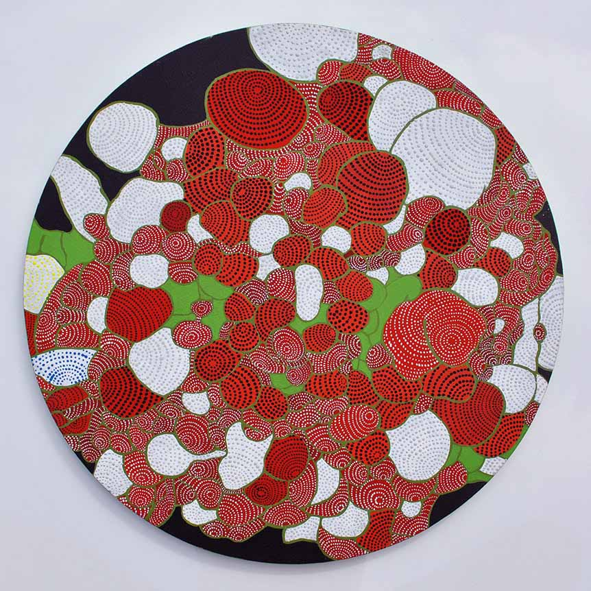 Asuka Nirasawa, Japan Cell 1 2013 Acrylic on round canvas 502mm x 502mm x 13mm