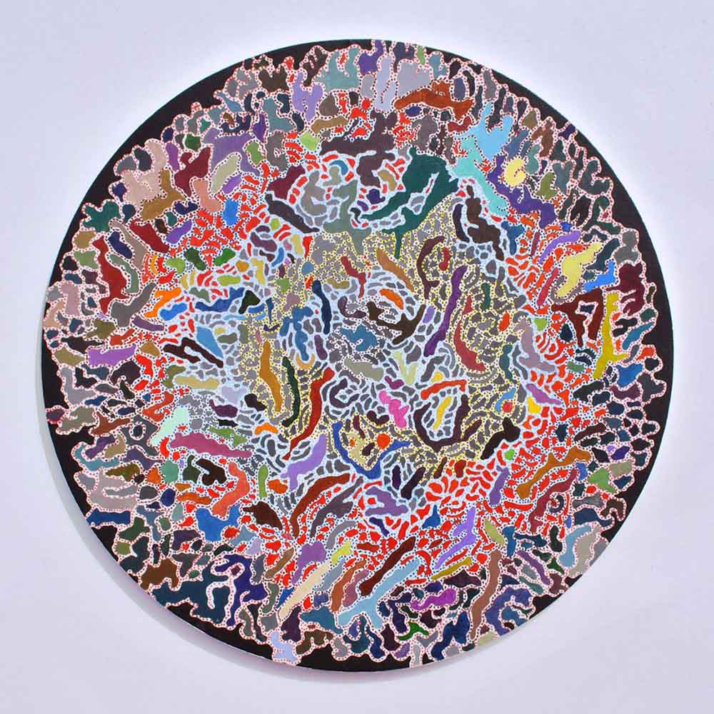 Asuka Nirasawa, Japan Cell 2 2013 Acrylic on round canvas 502mm x 502mm x 13mm