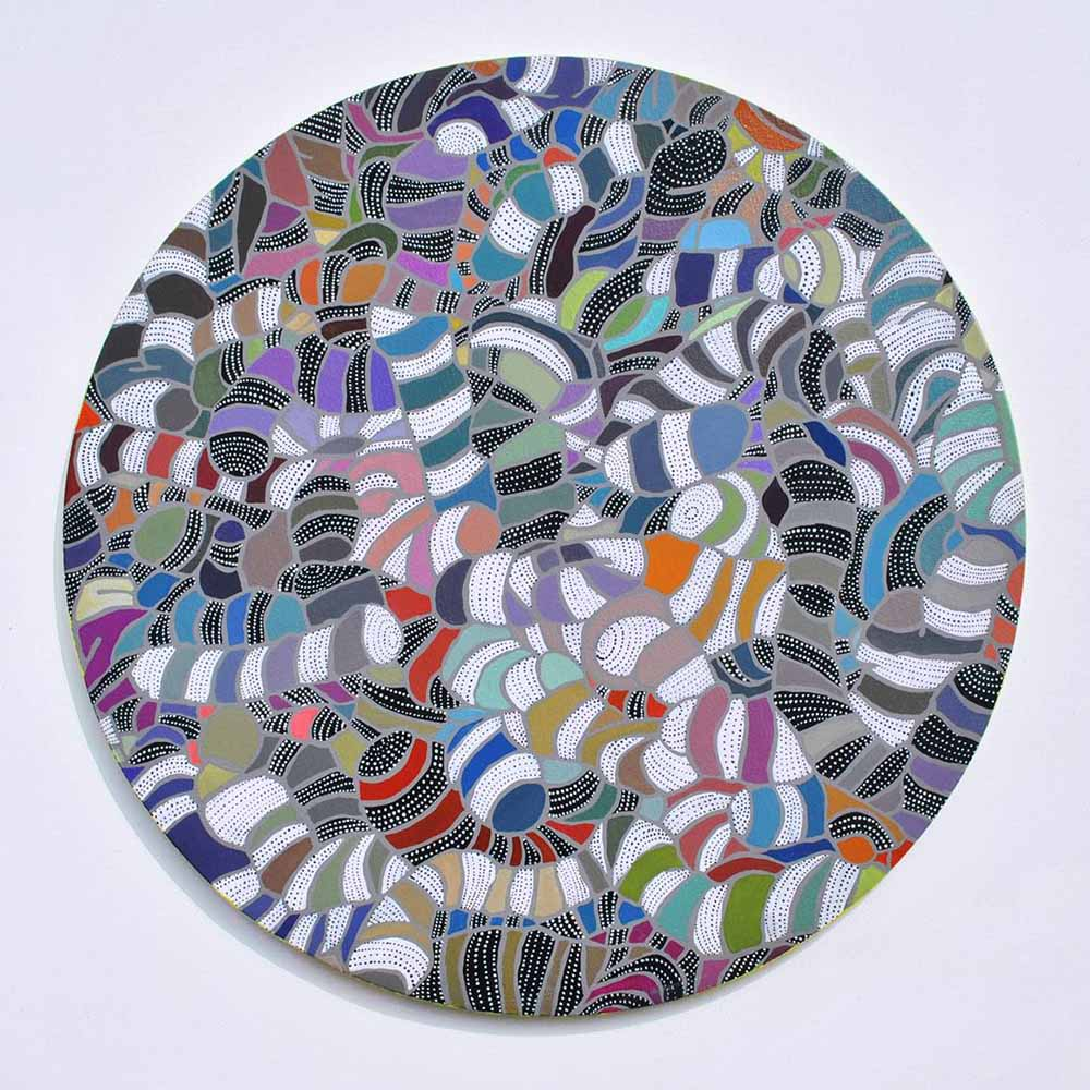Asuka Nirasawa, Japan Cell 7 2013 Acrylic on round canvas 502mm x 502mm x 13mm