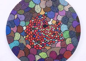 Asuka Nirasawa, Japan Cell b 2013-2017 Acrylic on round canvas 402mm x 402mm x 13mm