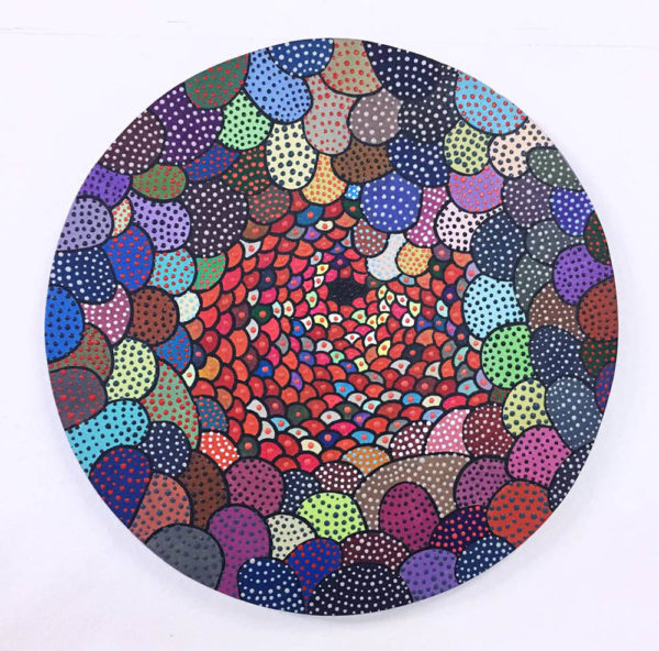 Asuka Nirasawa, Japan Cell b 2013-2017 Acrylic on round canvas 402mm x 402mm x 13mm