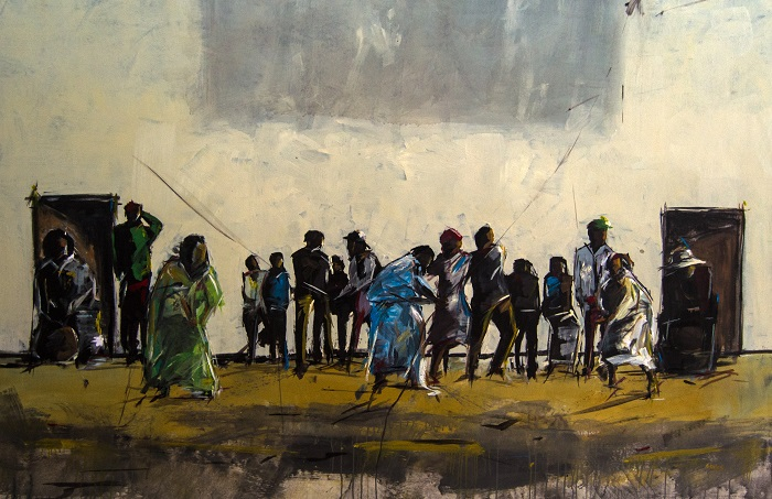 Asanda Kupa - 'Pull through' Acrylic on Canvas 230.1x160cm