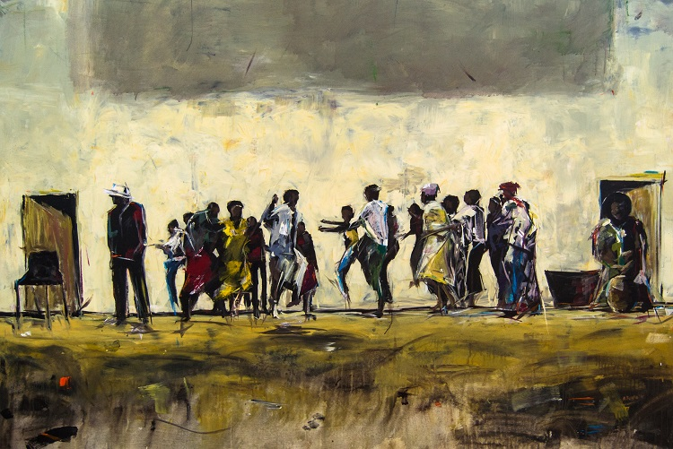 Asanda Kupa - 'We ready' Acrylic on Canvas 233.5x160cm