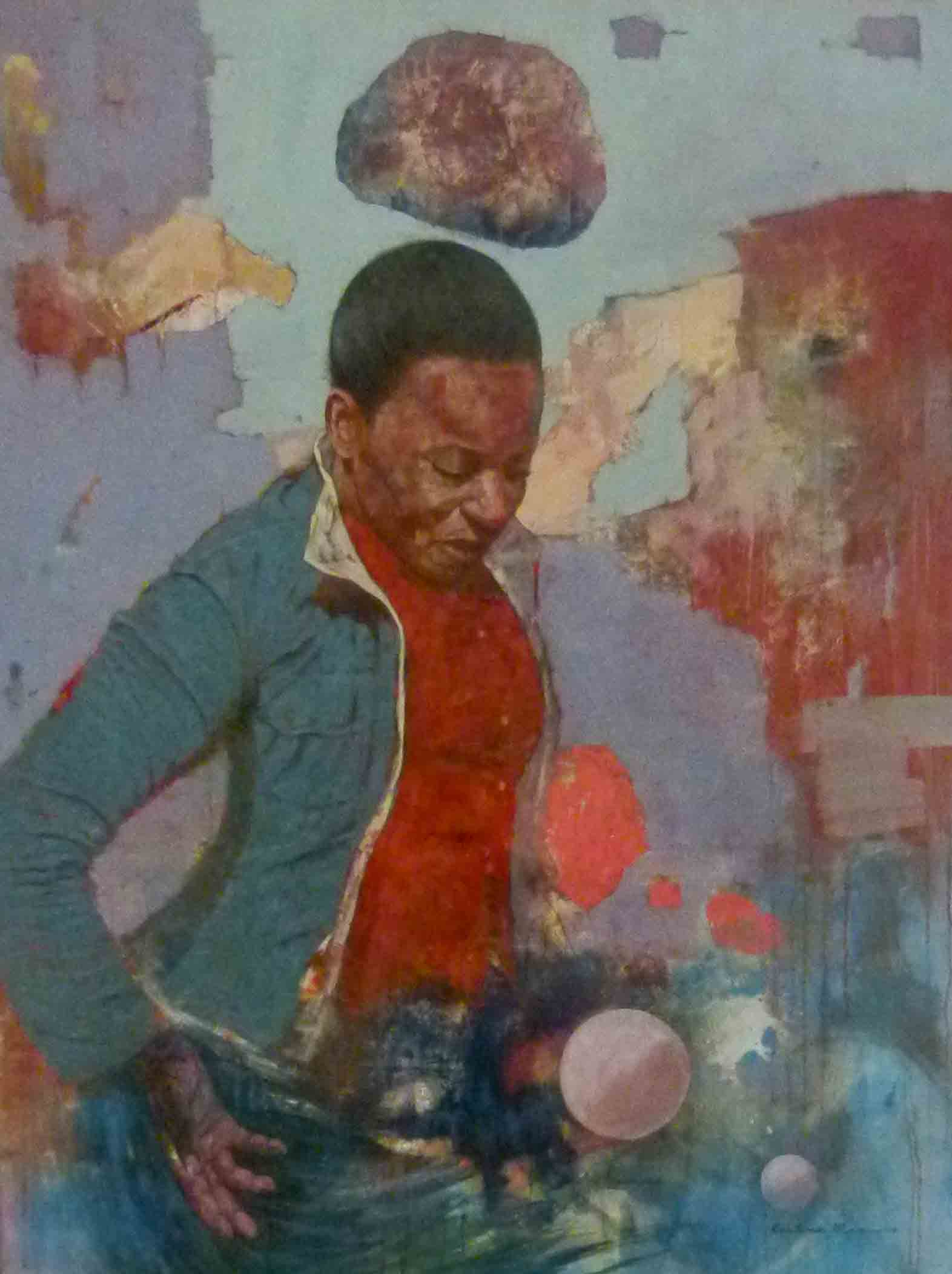 Restone Maambo 'Casting a Fortune' Oil, Plaster of Paris _ Newspaper on Canvas