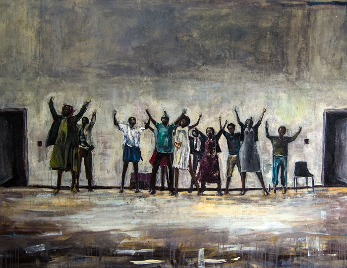 Asanda Kupa - Children of the Coal' Acrylic on Canvas 203.4x160cm