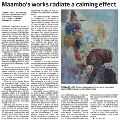 Cape Times Article: Restone Maambo