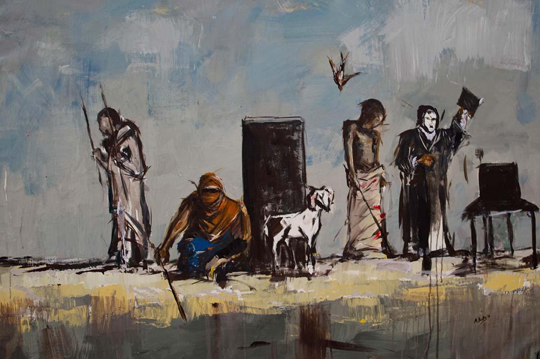 Asanda Kupa Imbilini yamanyange 2016 Acrylic on canvas 145 x 105 cm