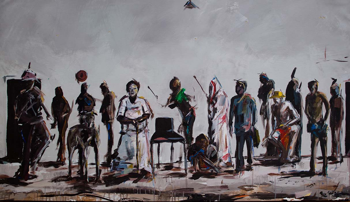 Asanda Kupa Isanusi 2016 Acrylic on canvas 150 x 87 cm