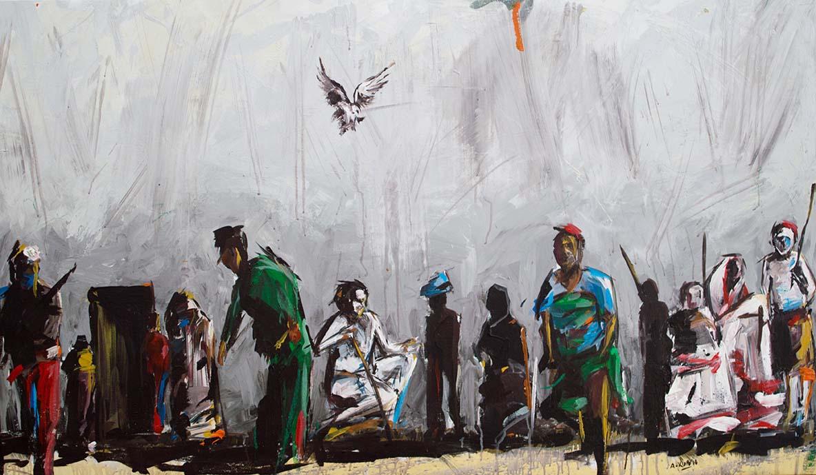 Asanda Kupa Isono sobuMnyama 2016 Acrylic on canvas 150 x 84 cm