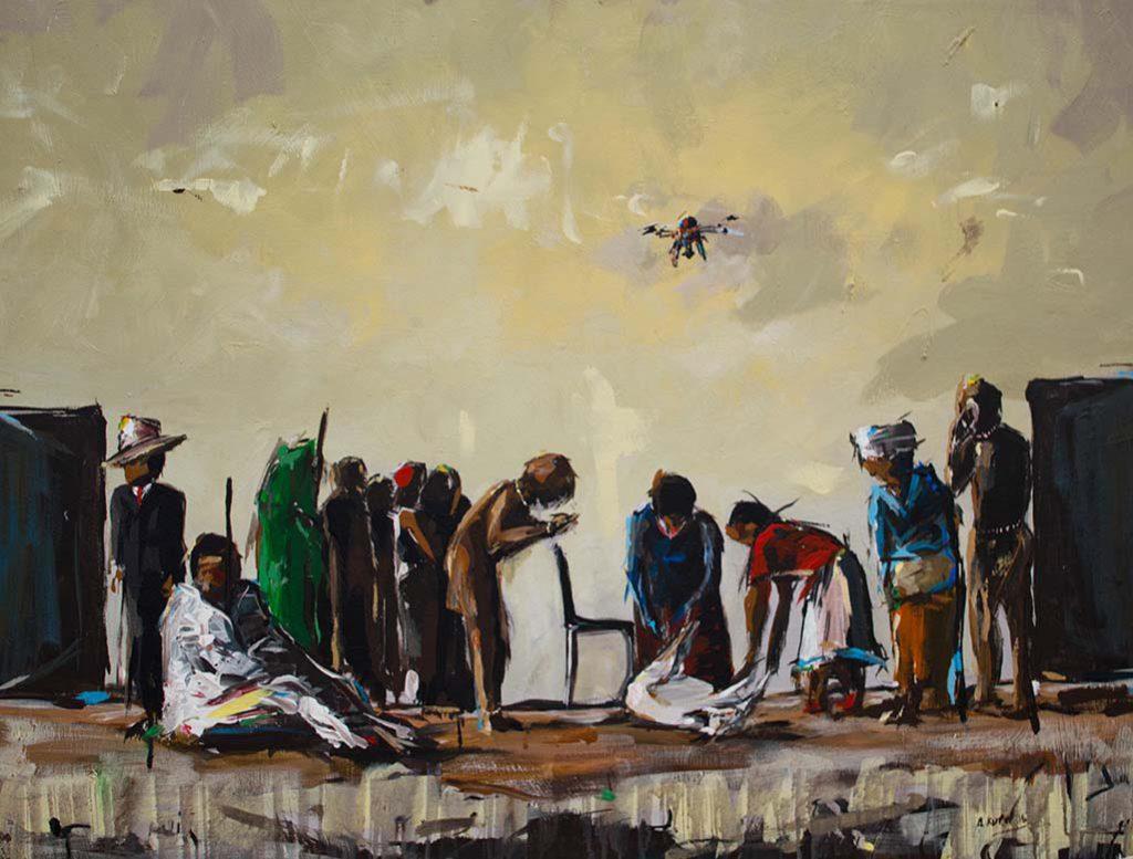 Asanda Kupa Kwabamathamb' amhlophe 2016 Acrylic on canvas 87 x 69 cm