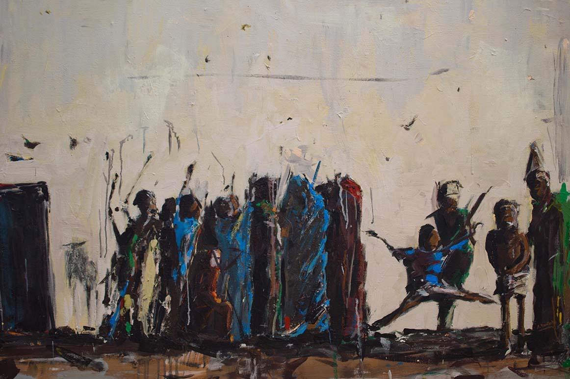 Asanda Kupa Ingxubakaxaka (Zimkil' iinkomo) 2016 Acrylic on canvas 126 x 88 cm