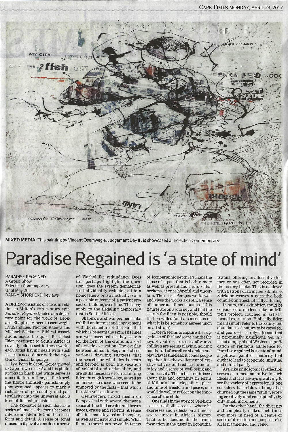 Paradise Regained Cape Times