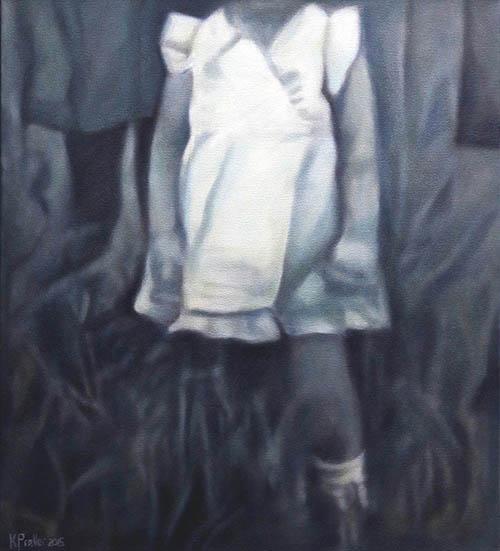 Karin Preller , SA ( 1960 - ) Posing, 2015 Oil on canvas 70cm x 60cm x 2.5cm