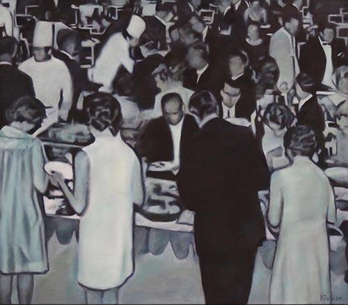 Karin Preller , SA (1960 - ) Smorgasbord, 1960s 2016 Oil on canvas 110cm x 110cm x 2.5cm