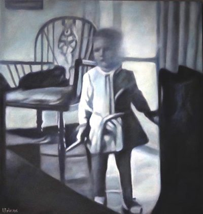 Karin Preller , SA (1960- ) The Chair (Kariin), 2015 Oil on canvas 95cm x 95cm x 2.5cm