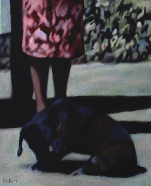 Karin Preller , SA(1960 - ) Family Dog, 2017 Oil on canvas 70cm x 60cm x 2.5cm