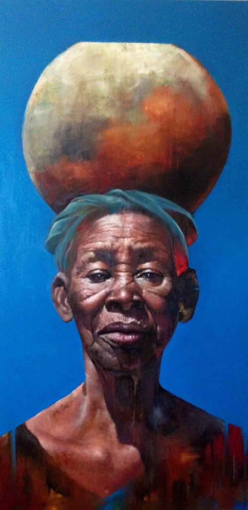 Loyiso Mkize Pray 2018 Oil on canvas 100 x 130 cm