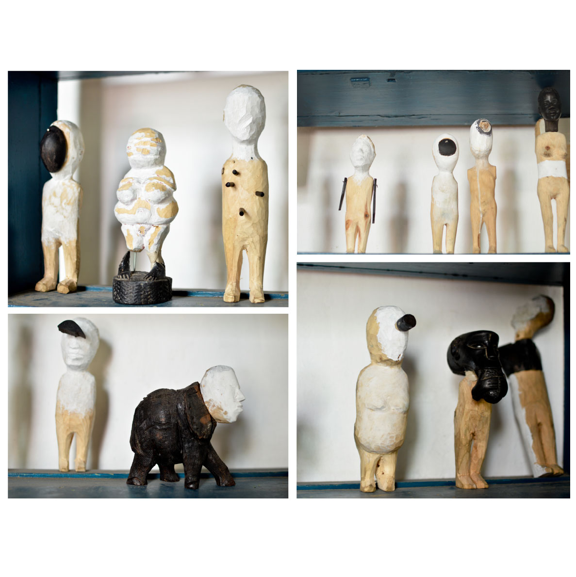 Ben Coutouvidis Chimerical Beings series 2018 ebony, yellow wood, stone pine Sizes vary