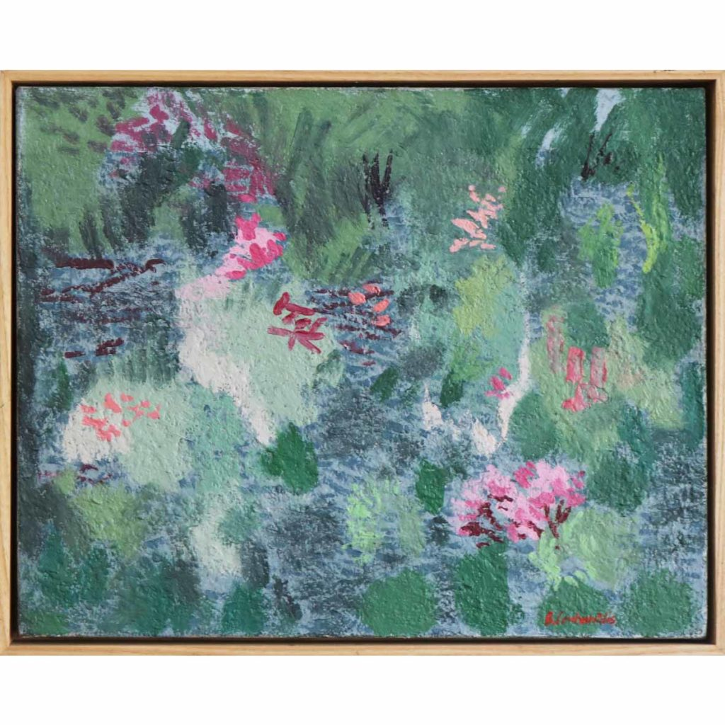 Ben Coutouvidis Japanese Garden 2018 oil on card 52.5 x 42.5 cm