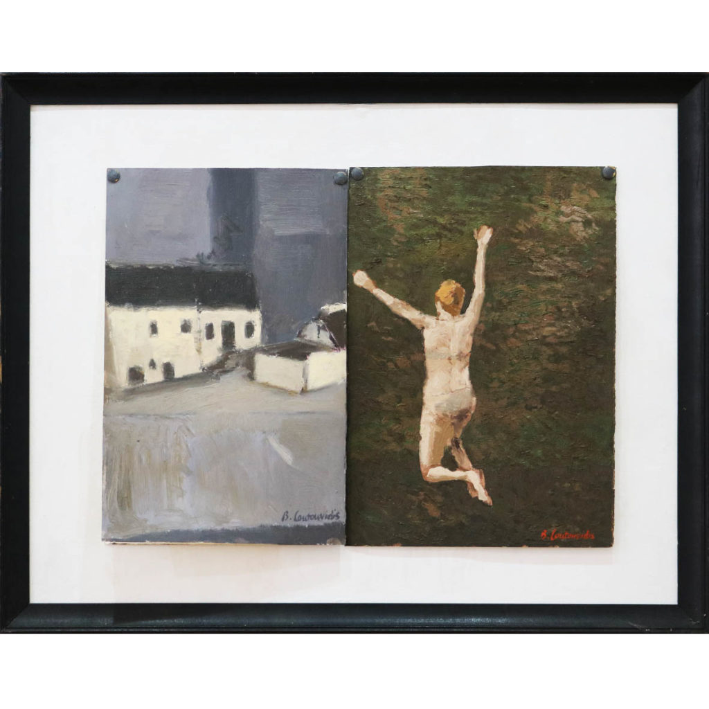 Ben Coutouvidis Jumping 2018 oil on card 43 x 31.5 cm