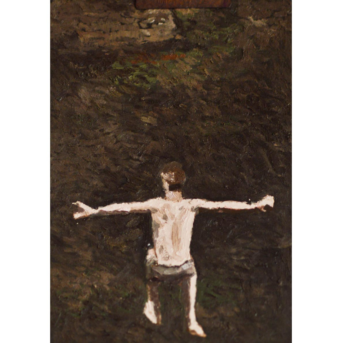 Ben Coutouvidis Jumping figure (outstretched) 2018 oil on card