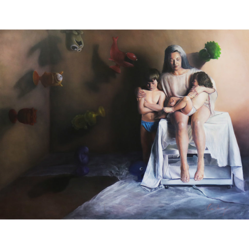 Christa Myburgh Stickeys and stones may break our bones but words will never hurt us 201? Oil on canvas 200 x 200 cm