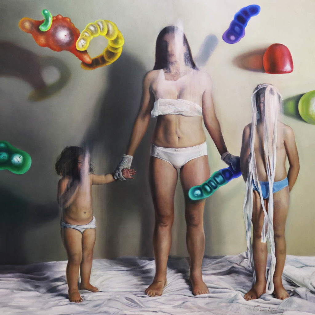 Christa Myburgh Vertebrates vs invertebrates and all odds attached 2016 Oil on canvas 200 x 200 cm