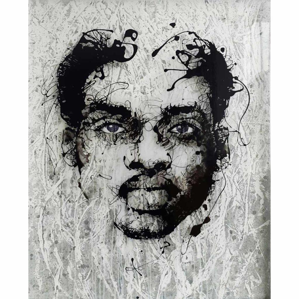 Vincent Osemwegie Hidden 2018 mixed media on Perspex 107.5 x 157.5 cm