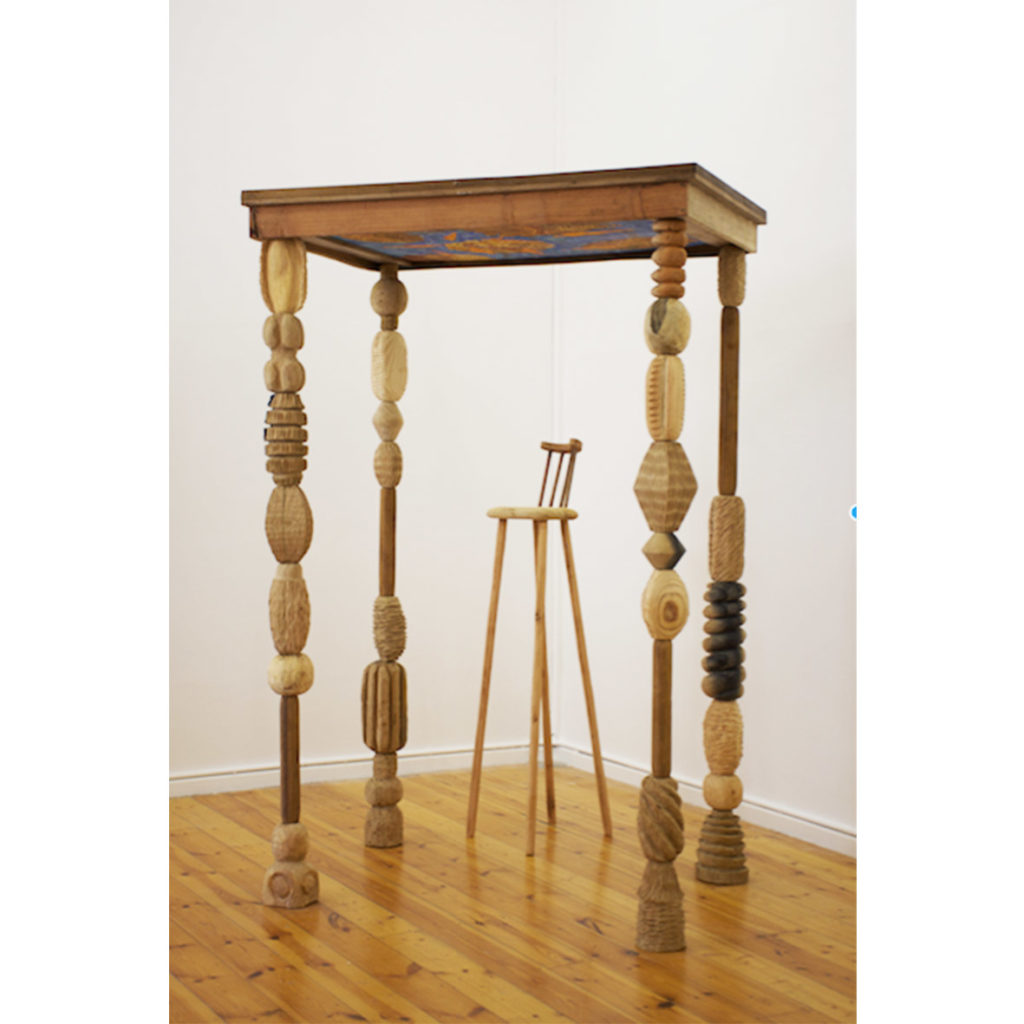 Aimee Lindeque Tall Table hand carved wooden with watercolour painting on paper 230 cm x 146 x 100 cm