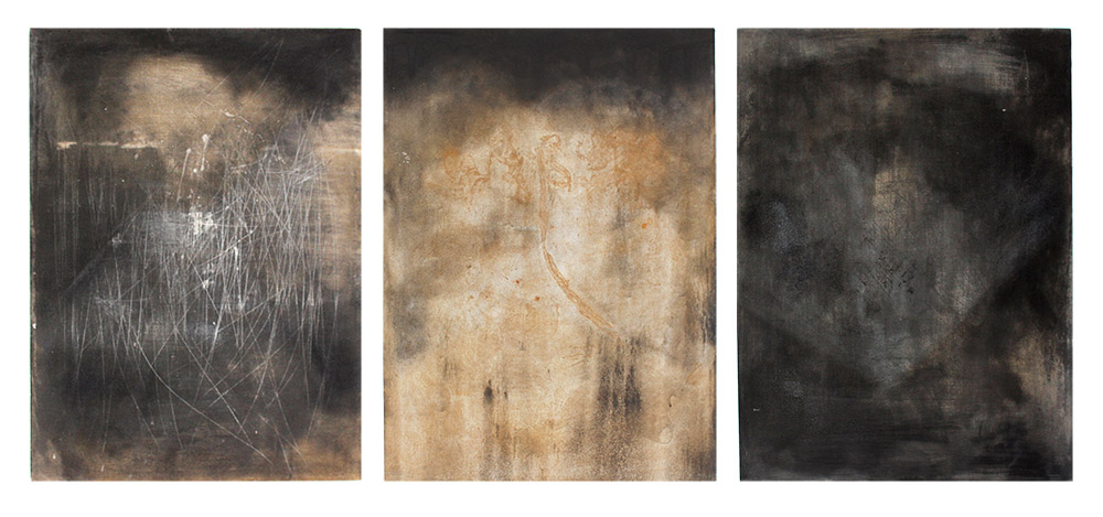 Joshua Williams Recalling (triptych) 2018 motor oil, rust, detergents on canvas 82 x 60 cm (each)