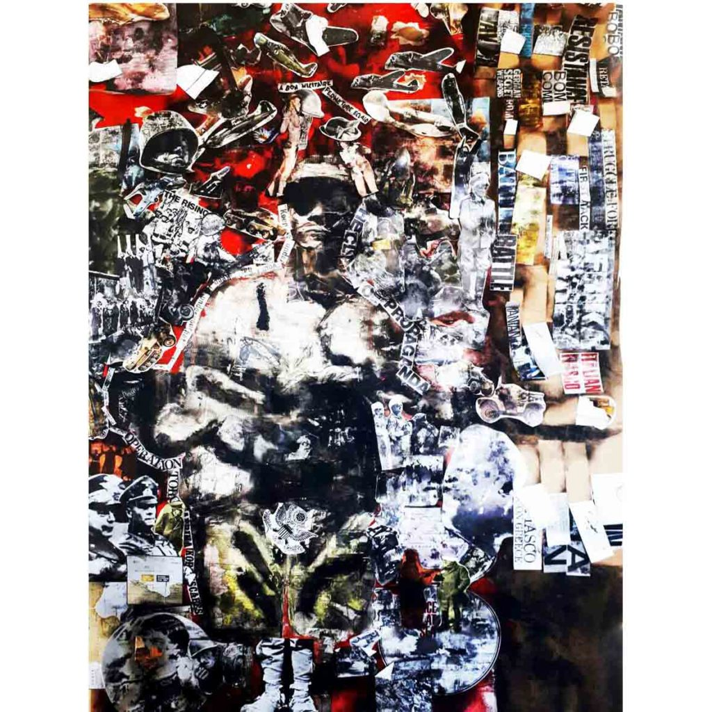 Ofentse Seshabela Bloody hell junk history 2017 Smoke, Collage and acrylic on Fabriano 156 x 105 cm