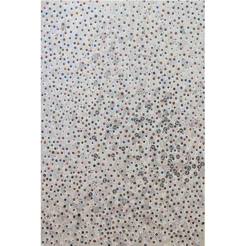 Asuka Nirasawa - Cell Division, 2853 Cells 2018 fabric, acrylic medium, glitter, pencil on canvas 150 x 200 cm
