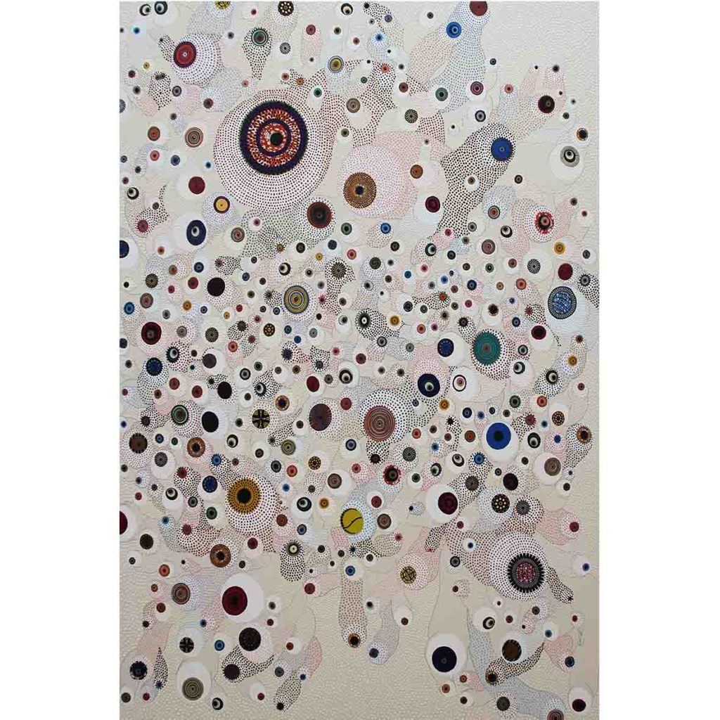 Asuka Nirasawa - Cell Division, 952 Cells 2018 fabric, acrylic medium, rhinestone, pencil on canvas, 150 x 200 cm