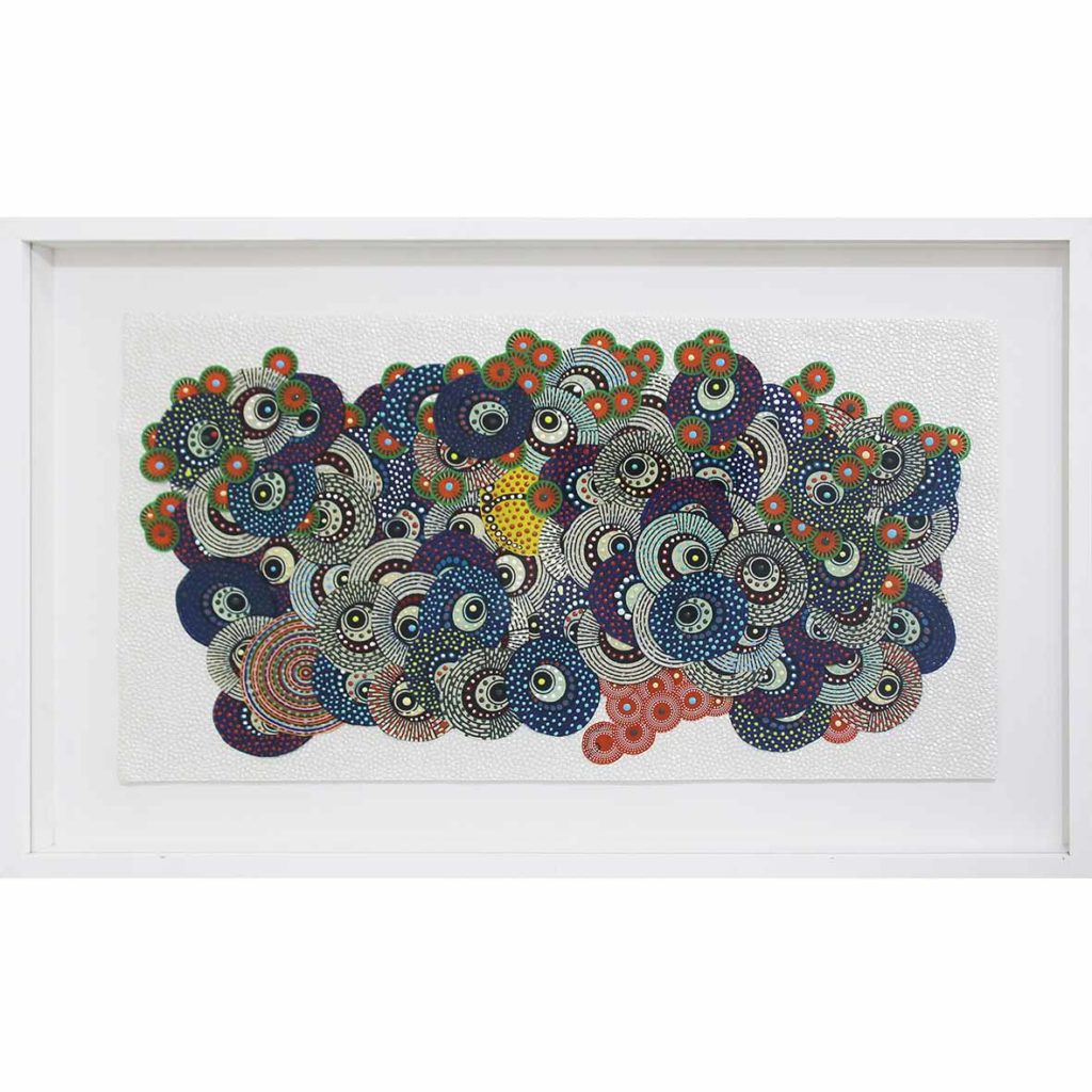 Asuka Nirasawa - Cytokinesis 8 2017 Fabric and acrylic medium on handmade paper 59 x 31 cm