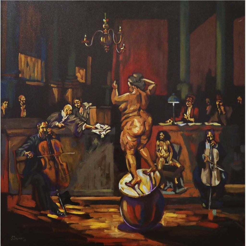 Zolani Siphungela Retaliation 2018 Oil on Canvas 100 x 100 cm