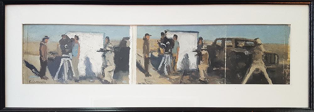 Ben Coutouvidis, Untitled, 2018, oil on card, 23 x 62 cm