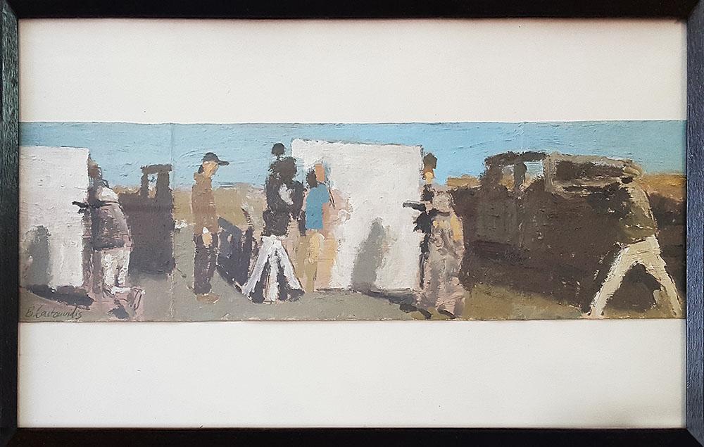 Ben Coutouvidis, Untitled, 2018, oil on card, 26.5 x 44 cm
