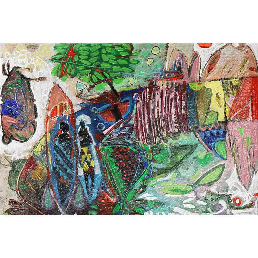 Hussein Salim, Untitled (HS176) 2018 acrylic on cardboard 19 x 27 cm
