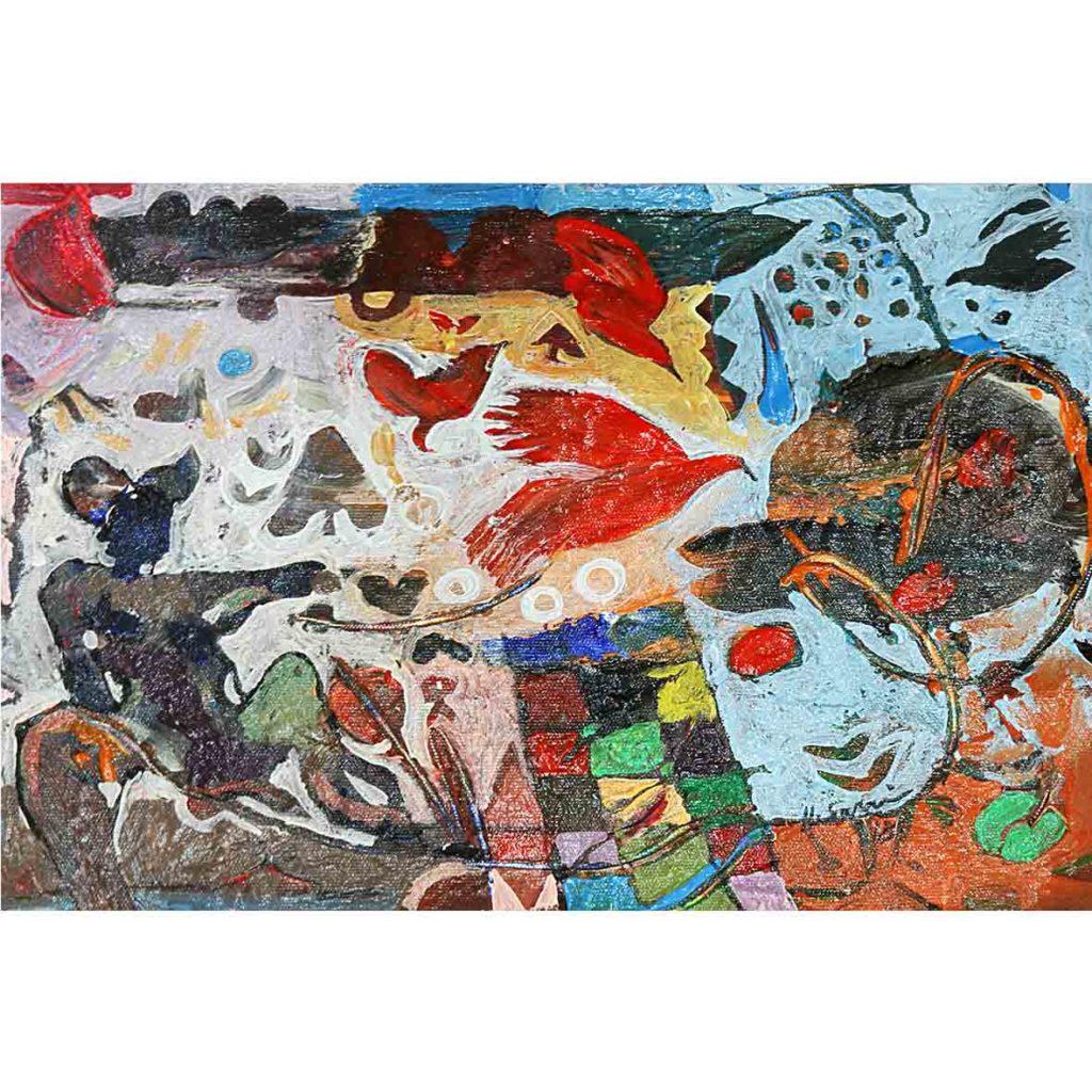 Hussein Salim, Untitled (HS177) 2018 acrylic on cardboard 19 x 27 cm