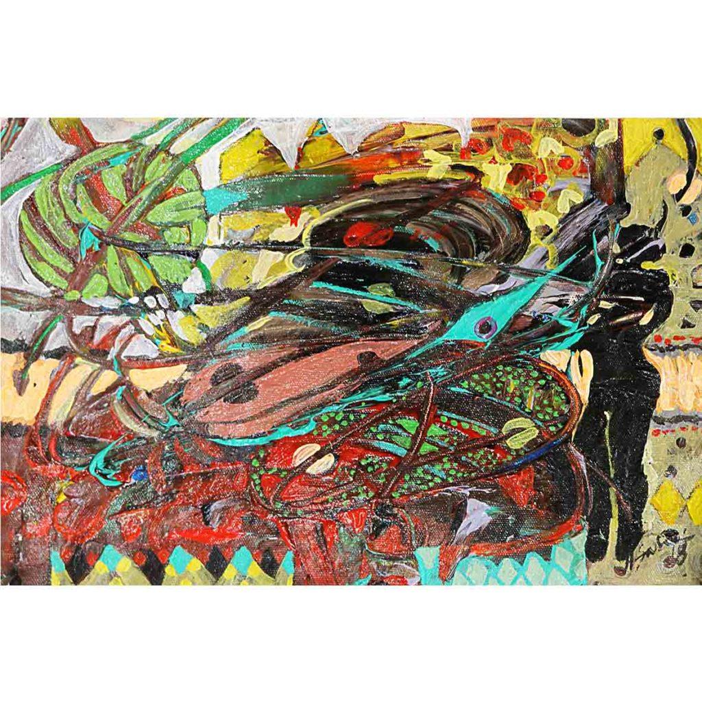 Hussein Salim, Untitled (HS178) 2018 acrylic on cardboard 19 x 27 cm