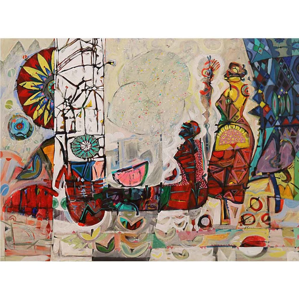 Hussein Salim, Untitled (HS180) 2018 acrylic on canvas 105 x 75