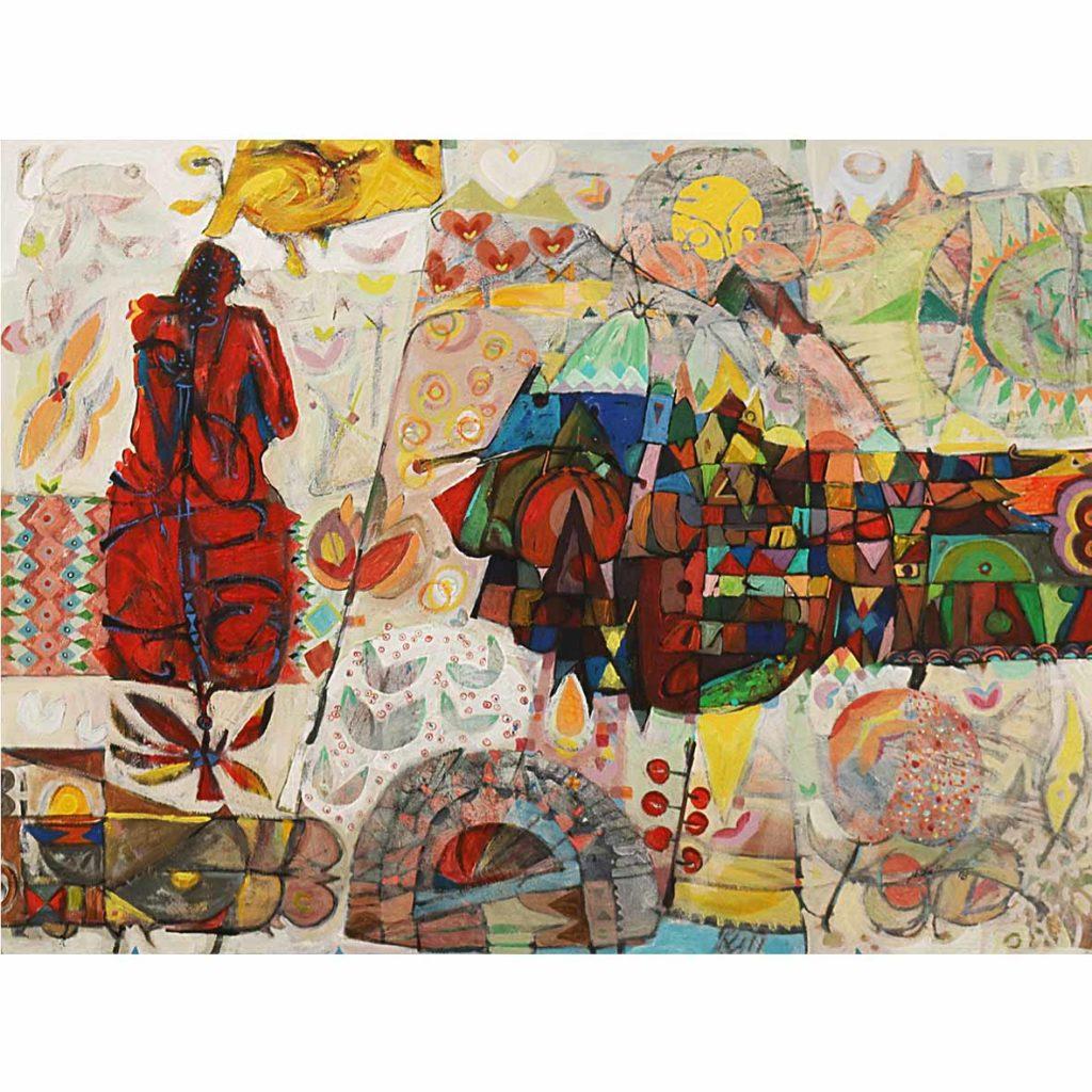 Hussein Salim, Untitled (HS180) 2018 acrylic on canvas 105 x 75 cm