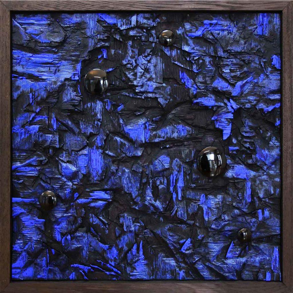 Lars J Fischedick Black Holes Above Blue into Dark 2018 Mixed media on Wood 50.5 x 49 cm