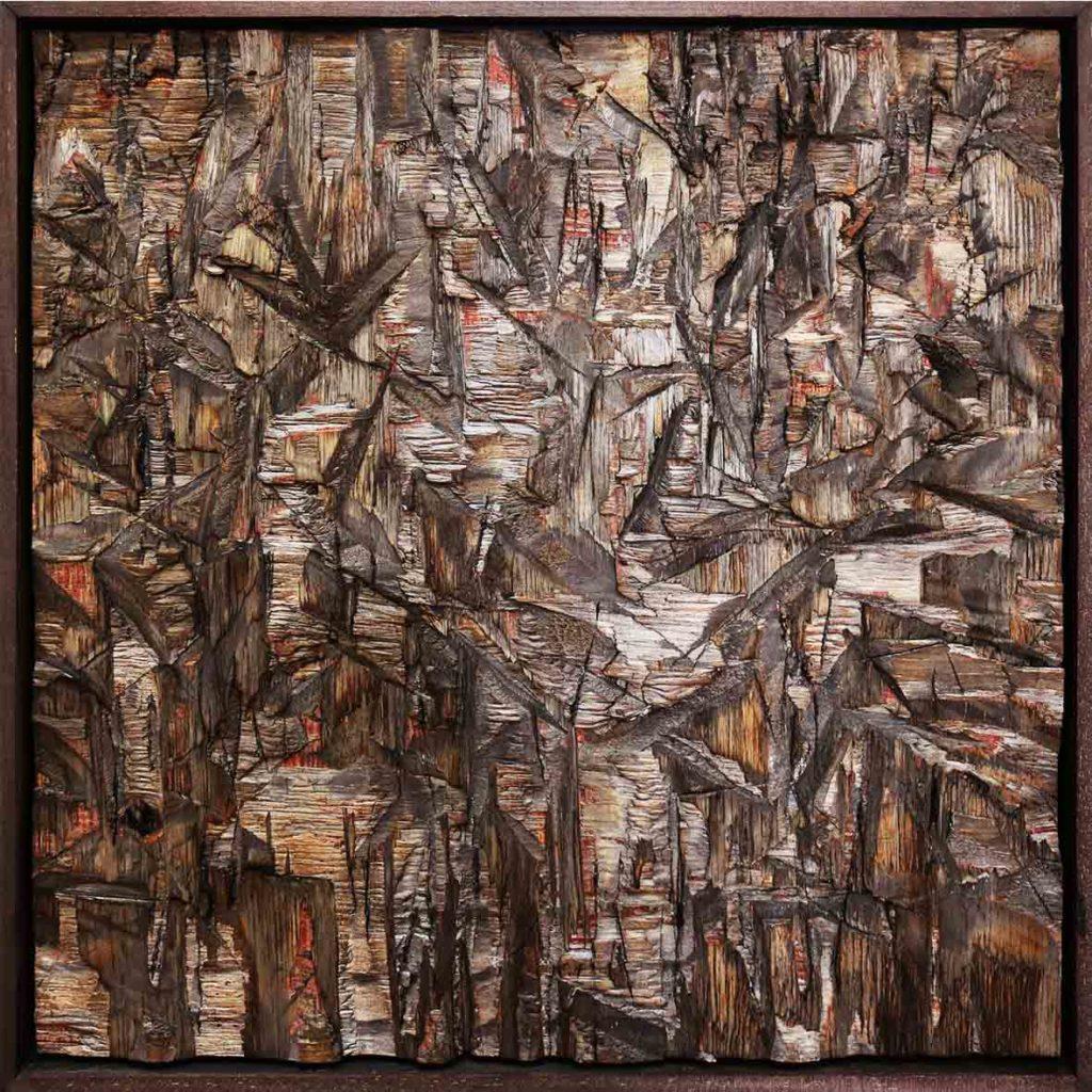 Lars J Fischedick Sacred Cuts 2018 Mixed media on Wood 50.5 x 50