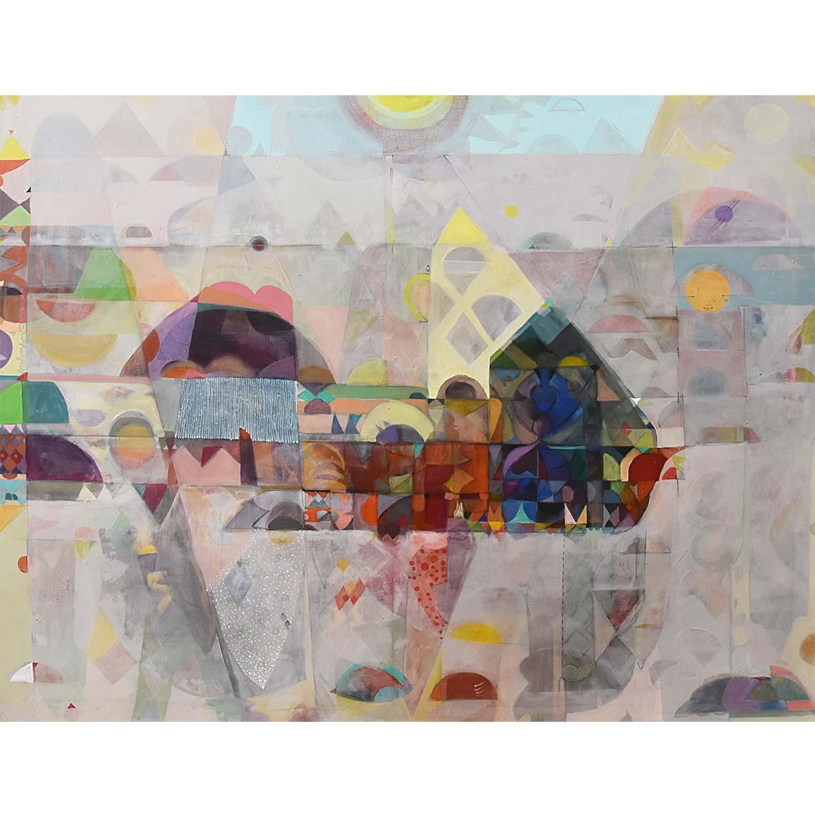 The Foggy Town (1) 2018 Acrylic on Canvas 185 x 150 cm