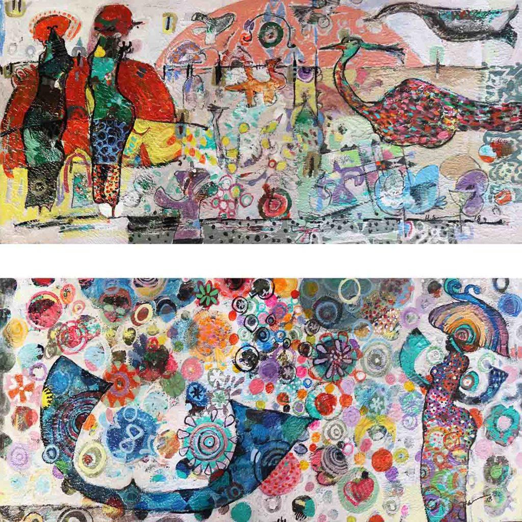 Hussein Salim, Untitled (HS138 & HS139), 2018, acrylic on cardboard, 20 x 49 cm