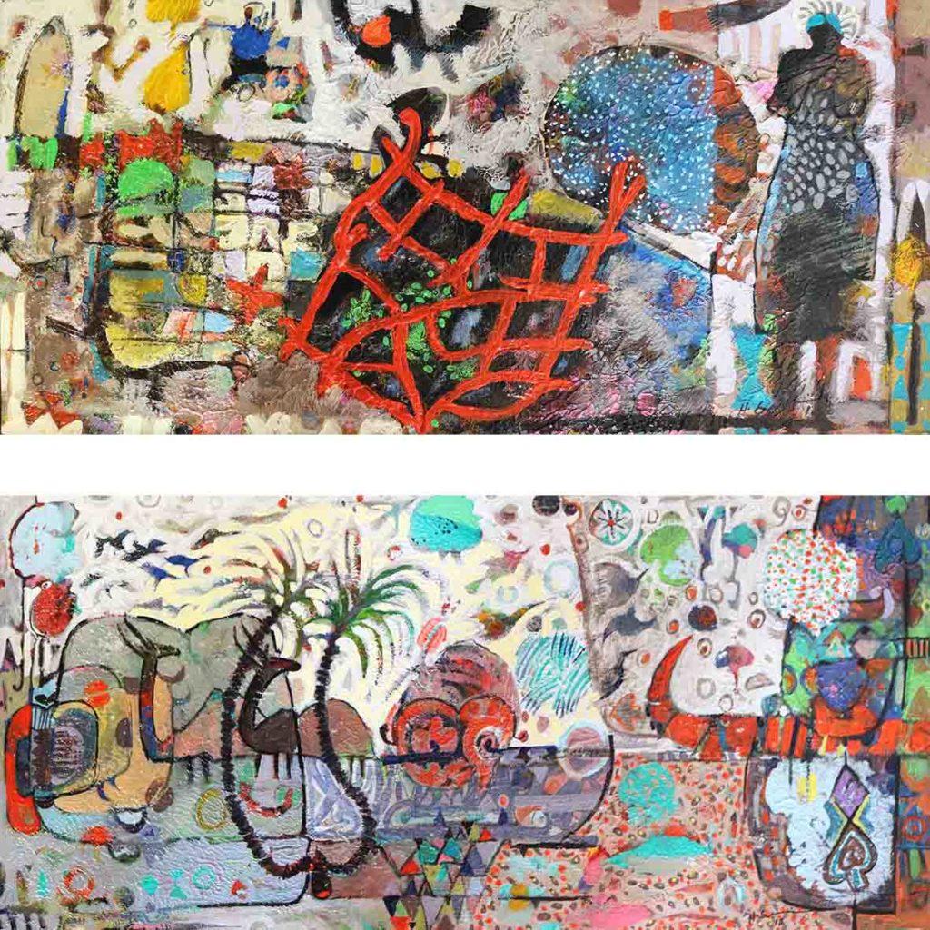 Hussein Salim, Untitled (HS144 & HS145), 2018, acrylic on cardboard, 20 x 49cm