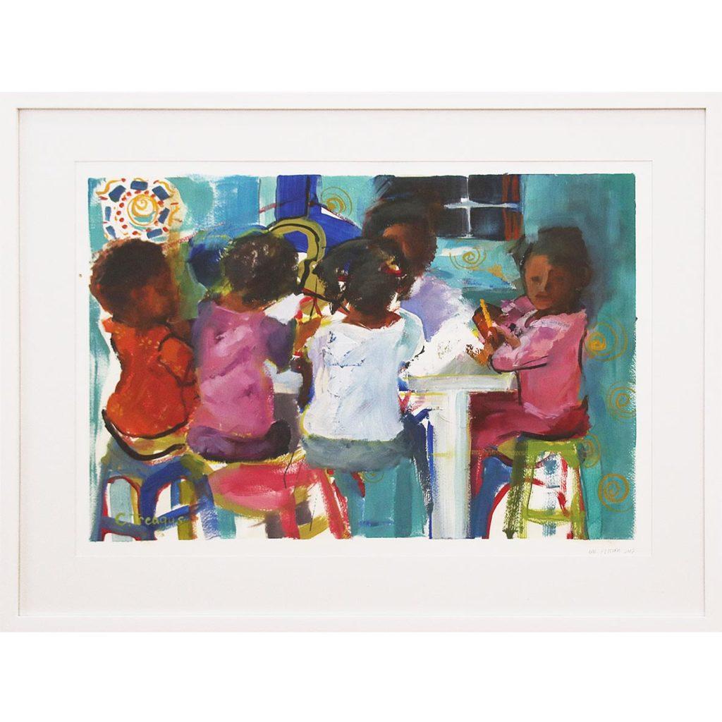 Claudia Treagus Backyard School 2018 Oil on Paper 86.3 x 67 cm
