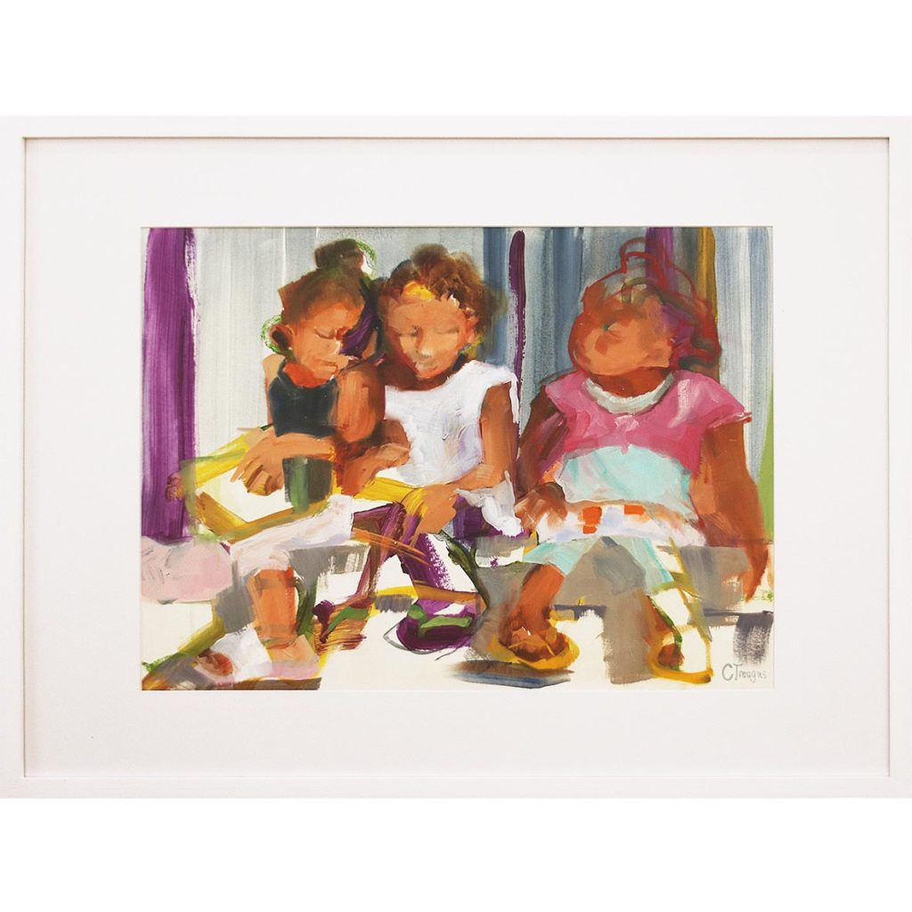 Claudia Treagus Sharing Books with Friends 2018 Oil on Paper 86.3 x 67 cm